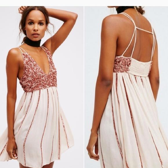 d0ef98af217 Free People Dresses | Glitter Girl Rose Gold Sequin Dress | Poshmark